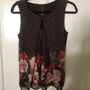 Brown Floral/Dot Business Tank